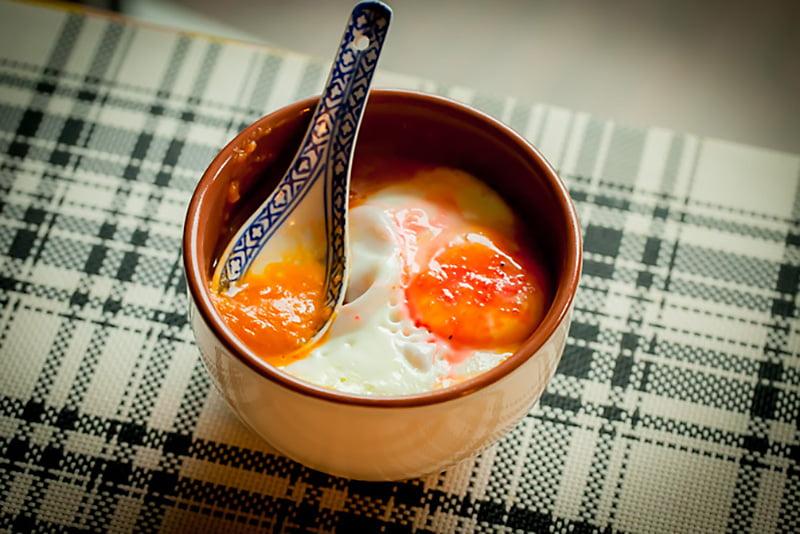 Mamalyga_zupa dyniowa z zapiekanym jajkiem-